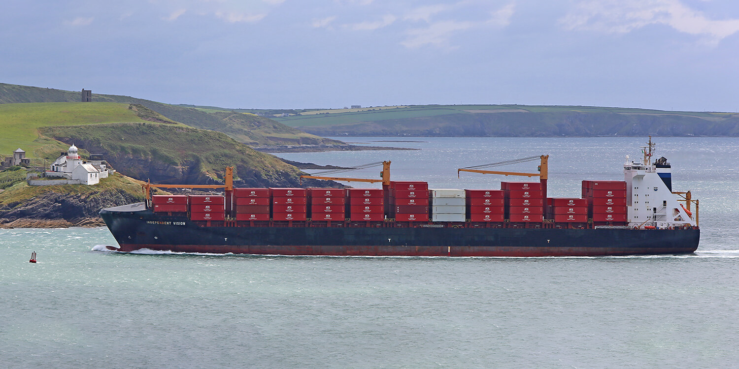 Johnson Stevens Independent Container Line ship out at sea