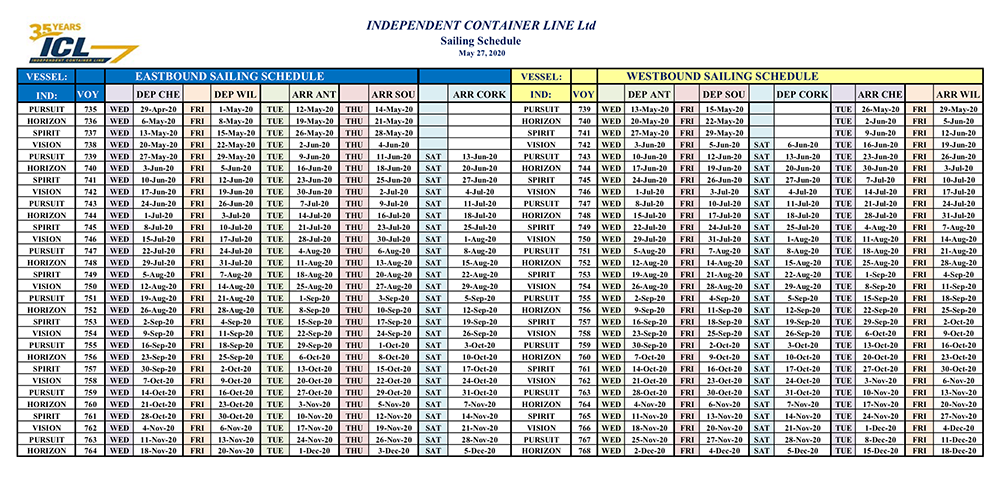 ICL Sailing Schedule